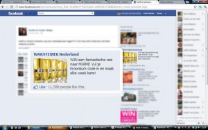 Facebook advertisement of beer brewer Warsteiner, the ad says: Win a fantstic trip to Miami. Fill in your crown cork code and become likely to win every week!